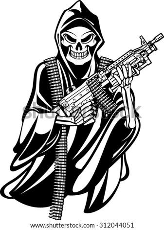 grime reaper holding m249 machine gun - stock vector