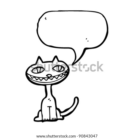 grinning cat with speech bubble