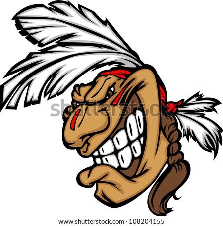 Grinning Indian Brave Mascot Head Vector Cartoon - stock vector
