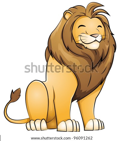 grinning lion - stock vector