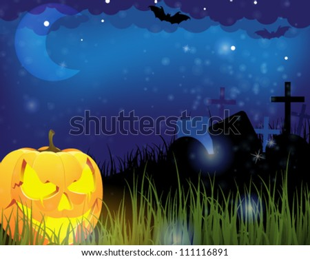 Grinning pumpkin head on a night cemetery. Abstract Halloween  background - stock vector