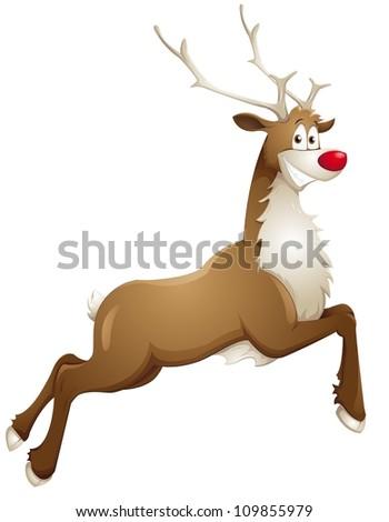 grinning reindeer - stock vector