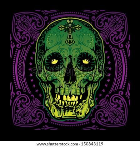 Grinning Sugar Skull Voodoo - stock vector
