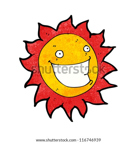 grinning sun cartoon character - stock vector