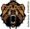 Grizzly Bear Mascot Head Vector Graphic - stock vector