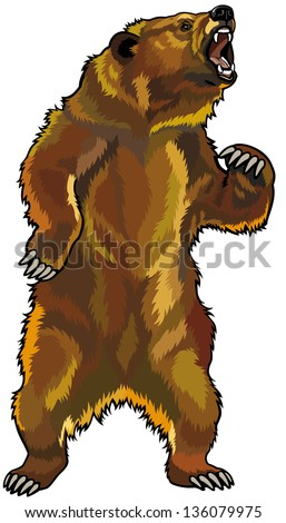 grizzly bear rearing angry Grizzly Bear Standing Clip Art