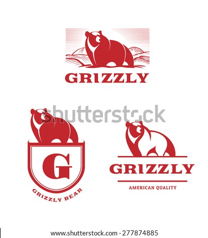 grizzly bear vintage logo - stock vector