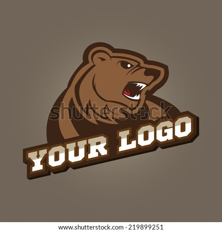 Grizzly mascot, team logo design, angry bear - stock vector