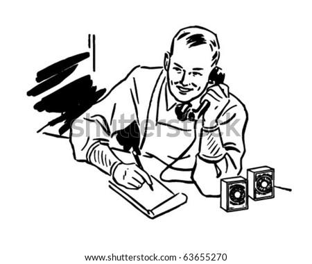 Grocer Taking Phone Order - Retro Clipart Illustration - stock vector