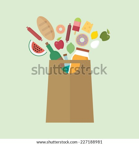Grocery bag with colorful exploding food - stock vector