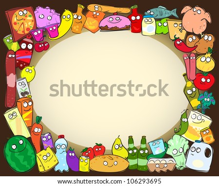 Grocery items border with space for text, shopping card, sketch - stock vector