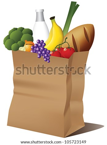 Grocery paper bag - stock vector