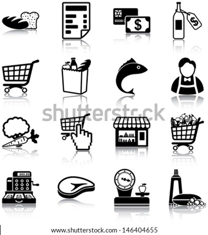 Grocery related icons/ silhouettes. - stock vector