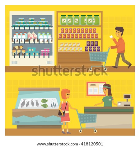 Grocery Shop Two Flat Vector Simple Design Illustrations One On Top Of Another - stock vector