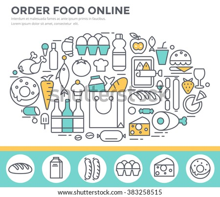 Grocery shopping and food ordering concept illustration, thin line flat design - stock vector