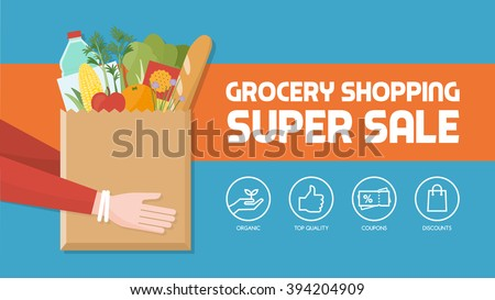 Grocery shopping banner with consumer holding a bag filled with vegetables, fruits and other food products, icons set - stock vector