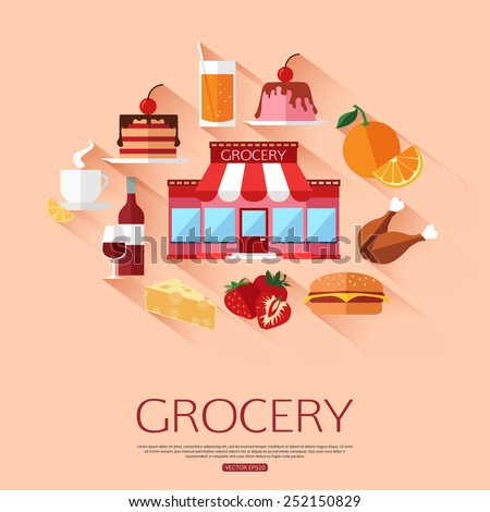 Grocery shopping concept background with place for text. Collection of flat food and drinks icons. Vector illustration.  - stock vector