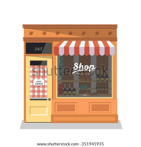 Grocery store,shop  facade in flat design style.Ideal for restaurant business web publications and graphic design. Vector illustration.