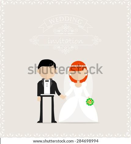 Groom bride standing still on wedding stock vector 284698994 groom and bride standing still on the wedding invitation card stopboris Images