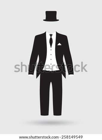 grooms suit and jacket outfit - stock vector