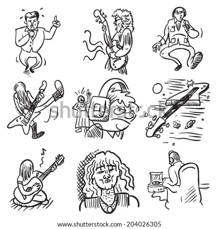 Groove to These Musical Doodles - stock vector