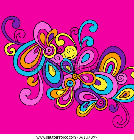 Groovy Hand-Drawn Psychedelic Abstract Doodle Vector Illustration - stock vector