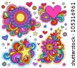 Groovy Psychedelic Doodles Hand Drawn Notebook Doodle Design Elements on Lined Sketchbook Paper Background- Vector Illustration - stock vector