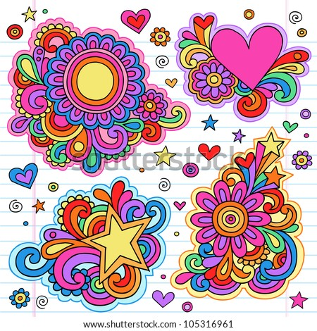 Groovy Psychedelic Doodles Hand Drawn Notebook Doodle Design Elements on Lined Sketchbook Paper Background- Vector Illustration