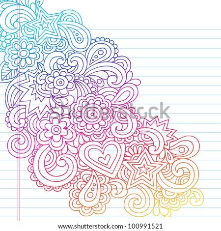 Groovy Psychedelic Flower Outline Doodles Design Element on Lined Sketchbook Paper Background- Vector Illustration - stock vector