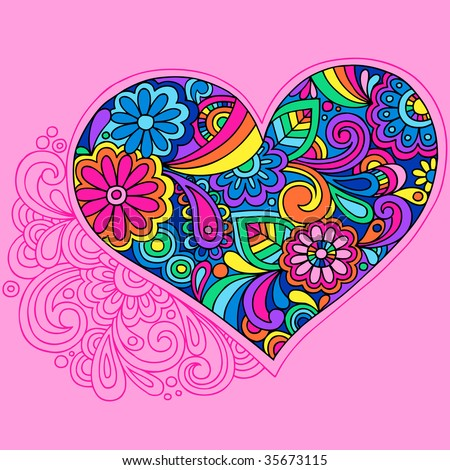 Groovy Psychedelic Heart Vector Illustration - stock vector
