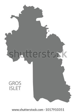 Gros Islet Map Saint Lucia Grey Stock Vector 1017910351 Shutterstock