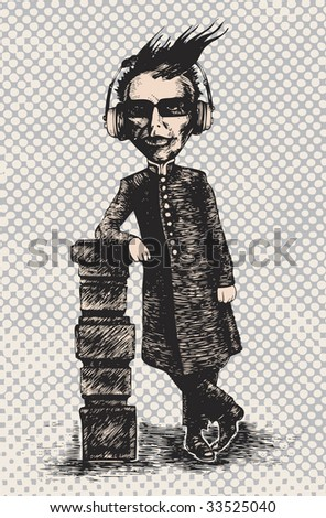 grotesque man in headphones listens to music. engraving style vector illustration. - stock vector