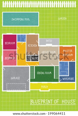 Ground Floor Plan Floorplan House Home Building Architecture  - stock vector