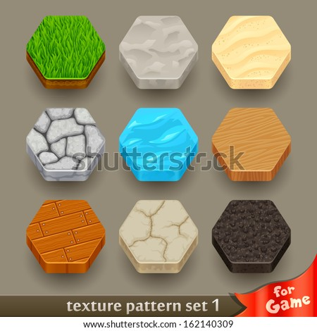 ground texture patterns for game-set 1 - stock vector
