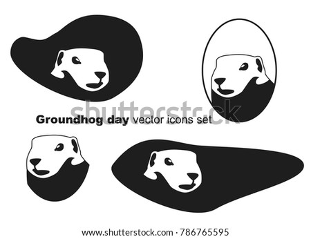 groundhog day vector icons set groundhog silhouette