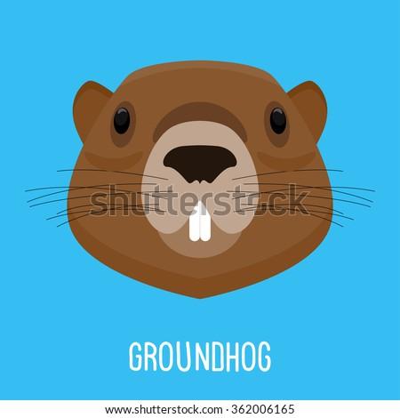 Groundhog. Groundhog portrait. Cartoon Groundhog. Childish Groundhog. Funny Groundhog. Vector Groundhog. Groundhog day card. Groundhog. Groundhog card. Isolated Groundhog. Groundhog. Graphic Groundhog - stock vector
