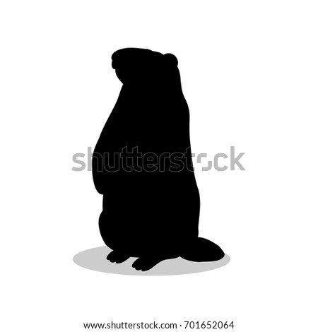 groundhog rodent black silhouette animal vector illustrator