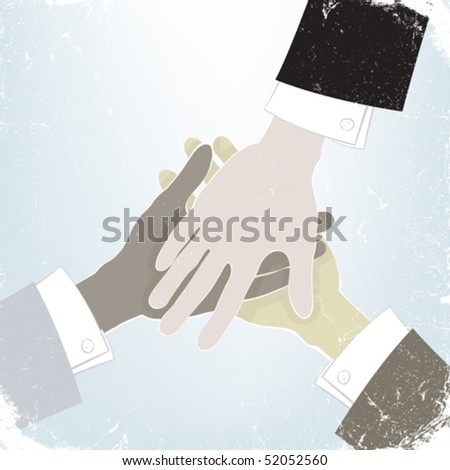 Group business handshake with a different colors of nation hands - stock vector