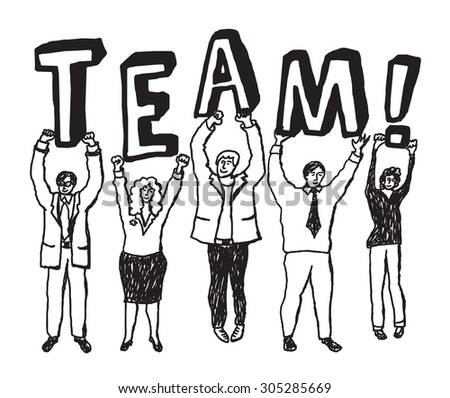Group business people team sign monochrome. Group happy business people. Black and white vector illustration. EPS 8.  - stock vector