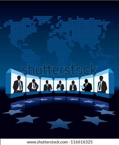 Group businesspeople having video-conference, a large world map in the background - stock vector