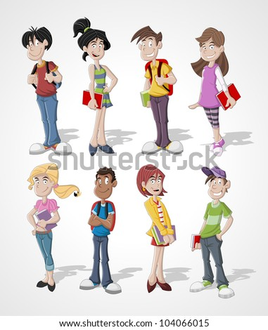 Group cartoon teenager students - stock vector