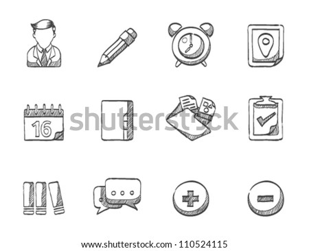Group collaboration icon series in sketch - stock vector