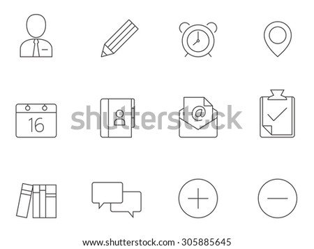 Group collaboration icons in thin outlines. Team work, cooperations. - stock vector