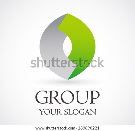 Group corporate link connect community logo business element symbol shape icon vector design template abstract - stock vector