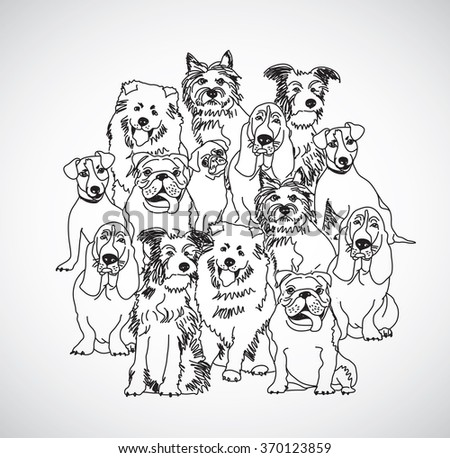 Group dogs black and white isolate. Black and white vector illustration. EPS8 - stock vector
