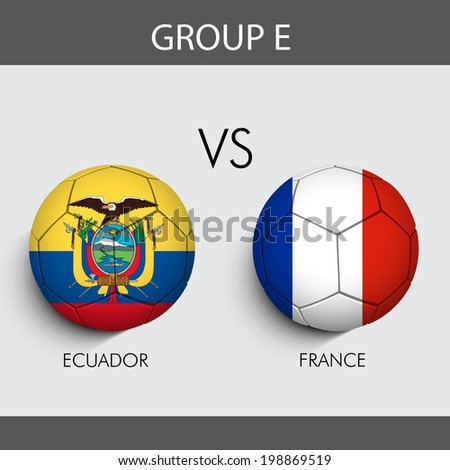 Group E Match Ecuador v/s France countries flags   - stock vector