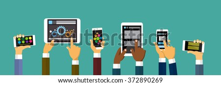 Group Hands Holding Smart Cell Phone Tablet Computer, Technology Concept Flat Vector Illustration - stock vector