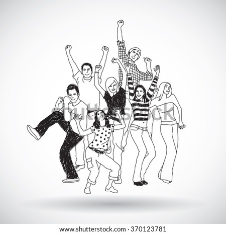 Group happy young people isolate black and white. Gray scale vector illustration. EPS10