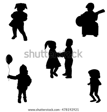 Group kids on white background.Vector