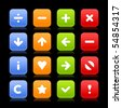 Group navigation web 2.0 square buttons of icons with reflection on black background - stock vector